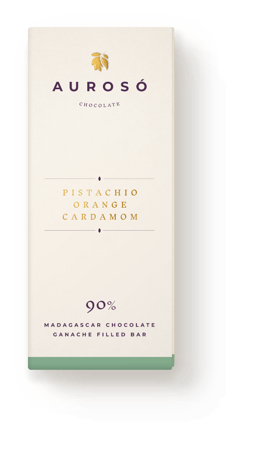 Reduced sugar pistachio orange cardamon madagascan chocolate ganache bar